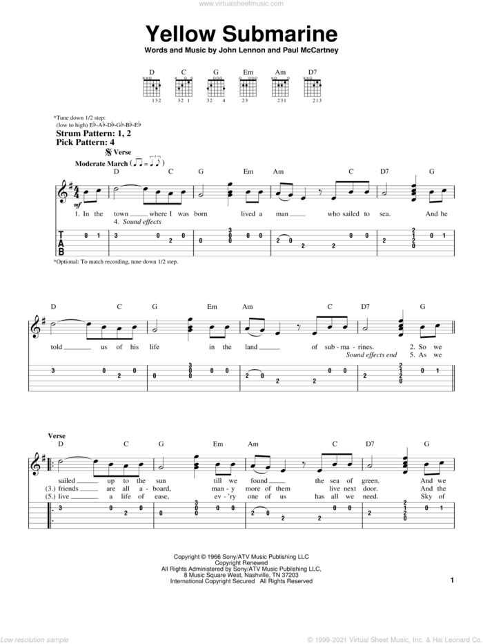 Yellow Submarine sheet music for guitar solo (easy tablature) by The Beatles, John Lennon and Paul McCartney, easy guitar (easy tablature)