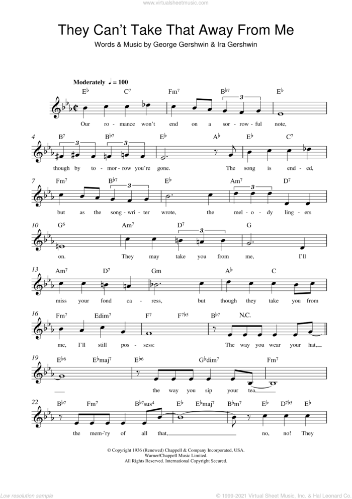They Can't Take That Away From Me sheet music for voice and other instruments (fake book) by George Gershwin and Ira Gershwin, intermediate skill level