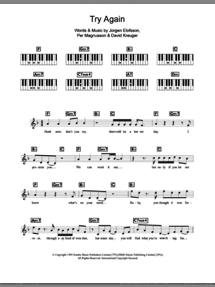 Try Again sheet music for piano solo (chords, lyrics, melody) by Westlife, David Kreuger, Jorgen Elofsson and Per Magnusson, intermediate piano (chords, lyrics, melody)