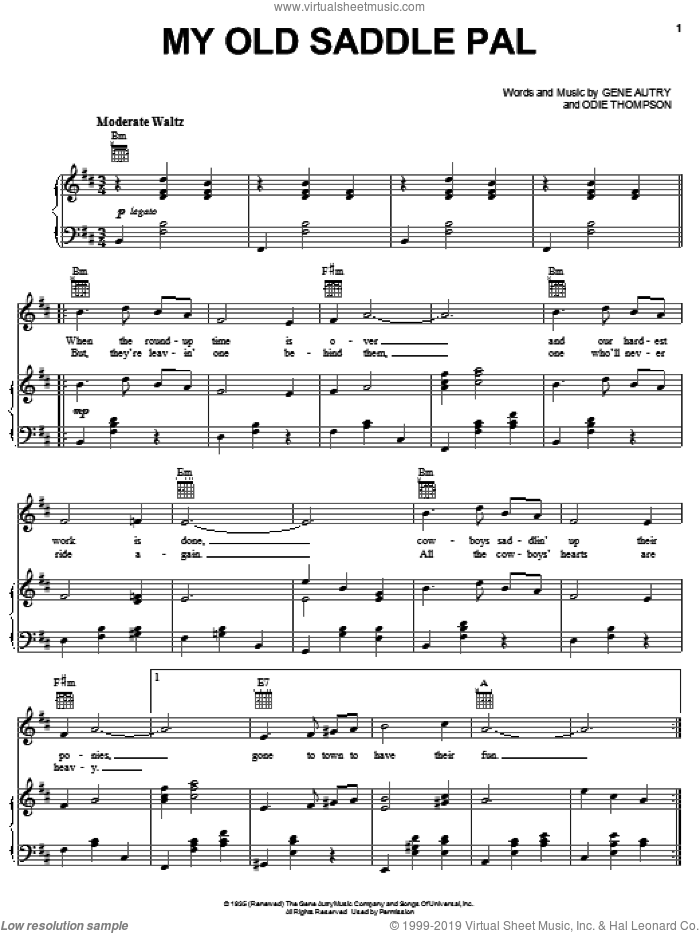 My Old Saddle Pal sheet music for voice, piano or guitar by Gene Autry, intermediate skill level