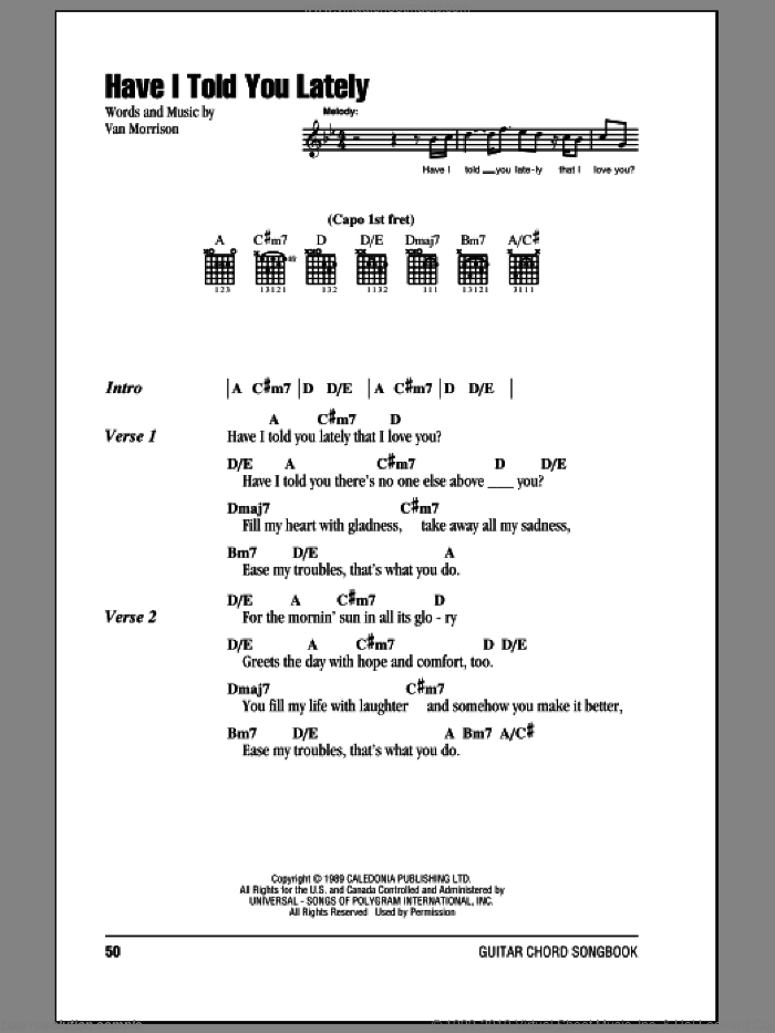 Have I Told You Lately sheet music for guitar (chords) by Van Morrison, Emilio and Rod Stewart, wedding score, intermediate skill level