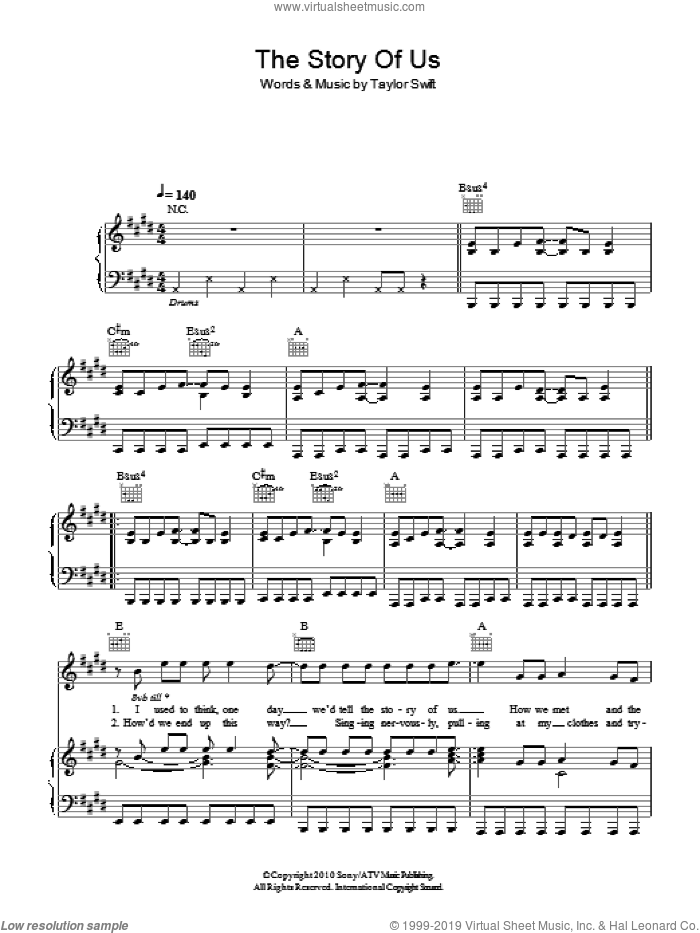 The Story Of Us sheet music for voice, piano or guitar by Taylor Swift, intermediate skill level