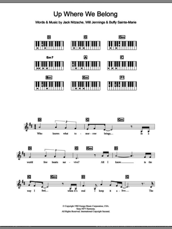 Up Where We Belong sheet music for piano solo (chords, lyrics, melody) by Joe Cocker, Jennifer Warnes, Buffy Sainte-Marie, Jack Nitzsche and Will Jennings, intermediate piano (chords, lyrics, melody)