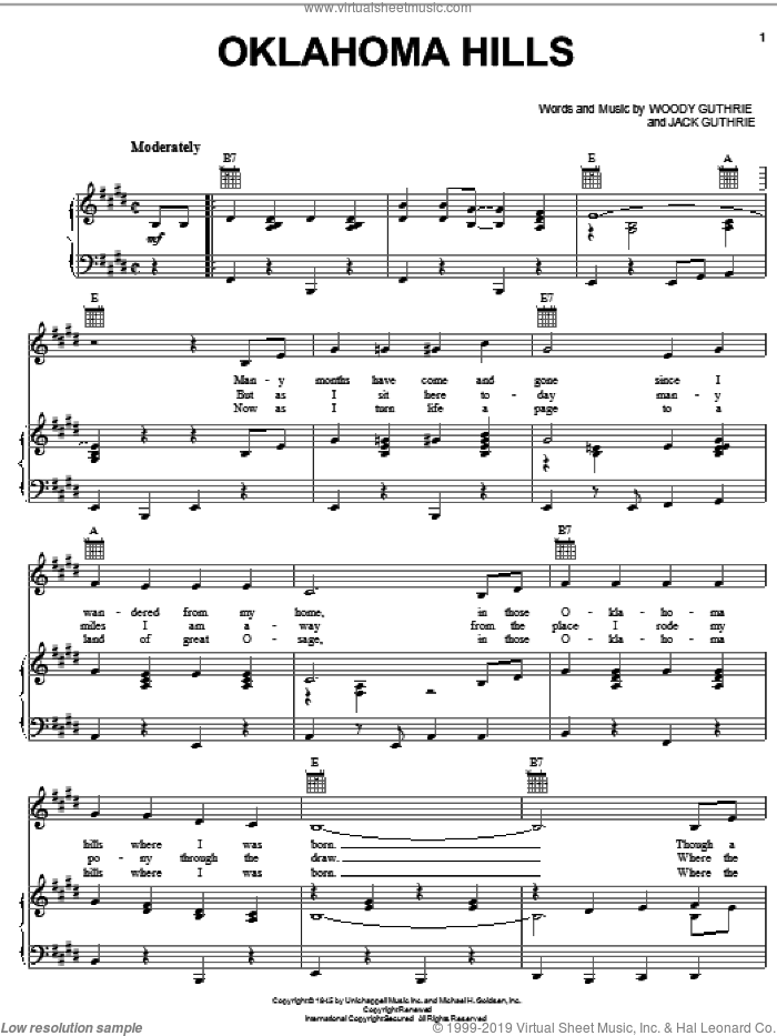 Oklahoma Hills sheet music for voice, piano or guitar by Woody Guthrie, Hank Thompson, Jim Reeves and Jack Guthrie, intermediate skill level