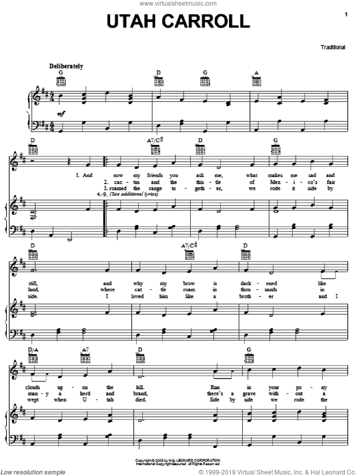Utah Carroll sheet music for voice, piano or guitar  and Don Edwards, intermediate skill level