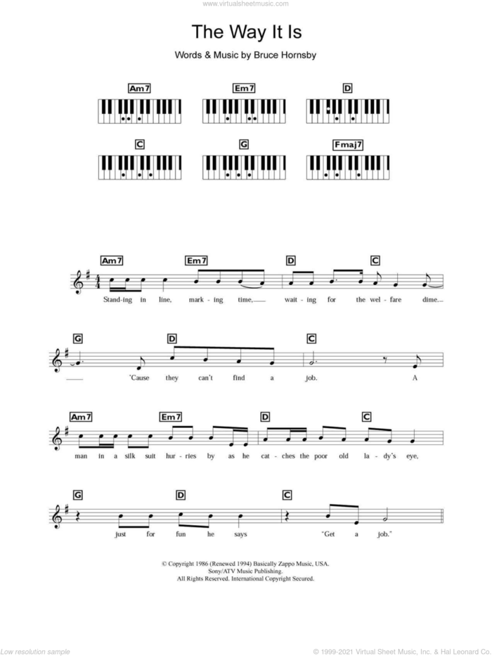 The Way It Is sheet music for piano solo (chords, lyrics, melody) by Bruce Hornsby, intermediate piano (chords, lyrics, melody)