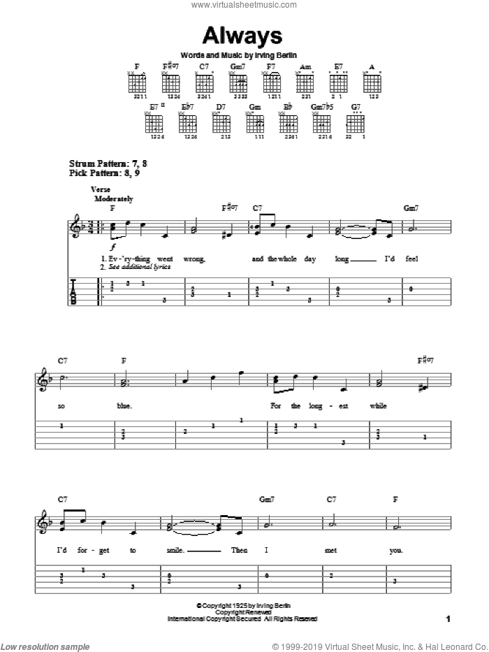 Always sheet music for guitar solo (easy tablature) by Irving Berlin, Billie Holiday, Frank Sinatra and Patsy Cline, easy guitar (easy tablature)