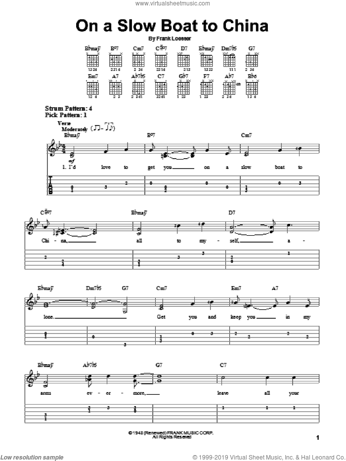 On A Slow Boat To China sheet music for guitar solo (easy tablature) by Frank Loesser, easy guitar (easy tablature)