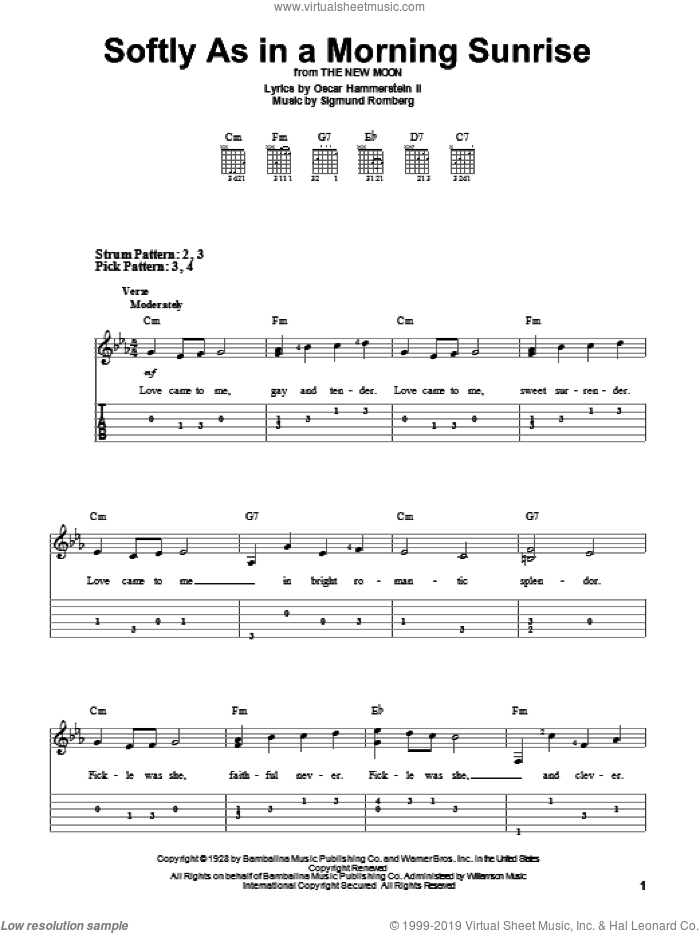 Softly As In A Morning Sunrise sheet music for guitar solo (easy tablature) by Sigmund Romberg and Oscar II Hammerstein, easy guitar (easy tablature)