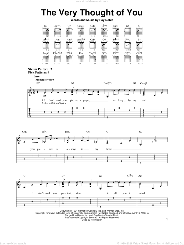 The Very Thought Of You sheet music for guitar solo (easy tablature) by Ray Noble, Frank Sinatra, Kate Smith, Nat King Cole, Ray Conniff and Ricky Nelson, wedding score, easy guitar (easy tablature)