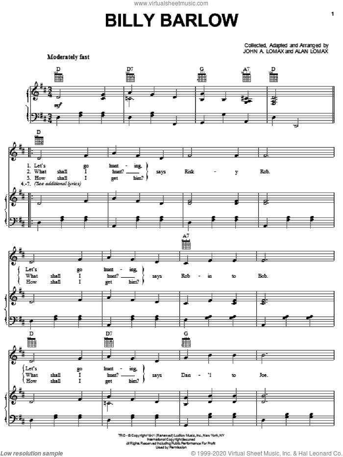 Billy Barlow sheet music for voice, piano or guitar by John A. Lomax, intermediate skill level