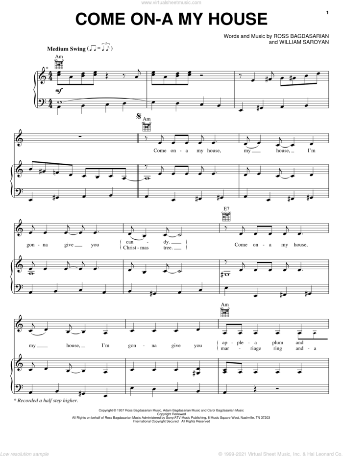 Come On-A My House sheet music for voice, piano or guitar by Rosemary Clooney, Ross Bagdasarian and William Saroyan, intermediate skill level