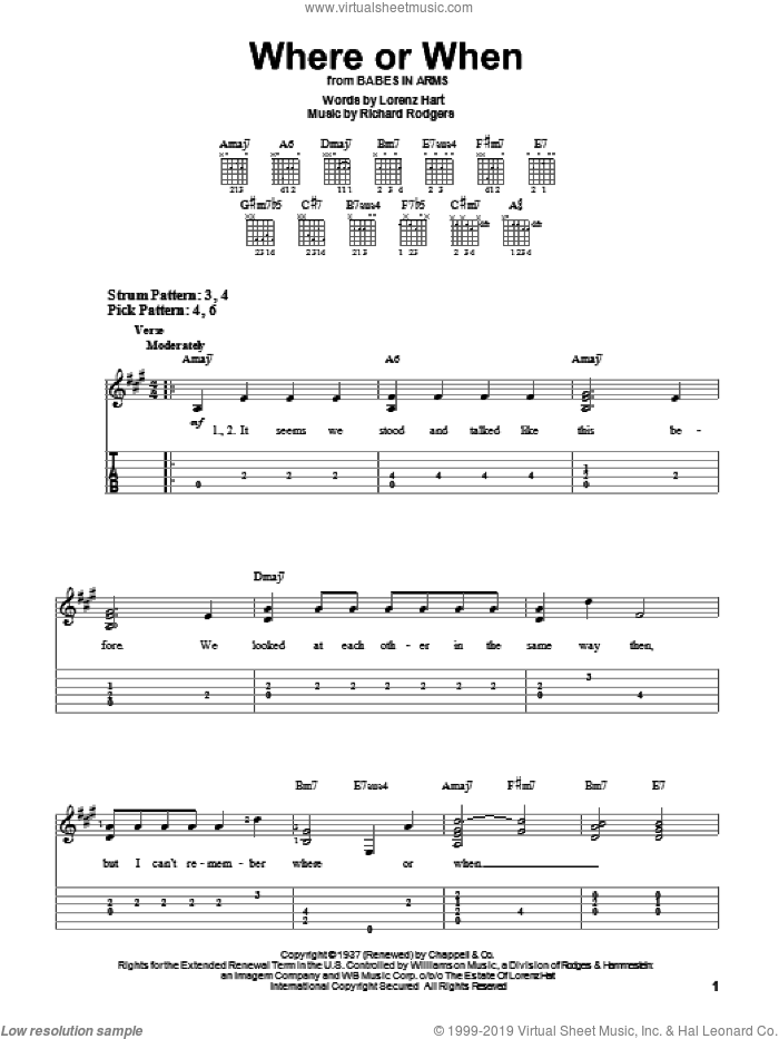 Where Or When sheet music for guitar solo (easy tablature) by Rodgers & Hart, Babes In Arms (Musical), Dion & The Belmonts, Lorenz Hart and Richard Rodgers, easy guitar (easy tablature)