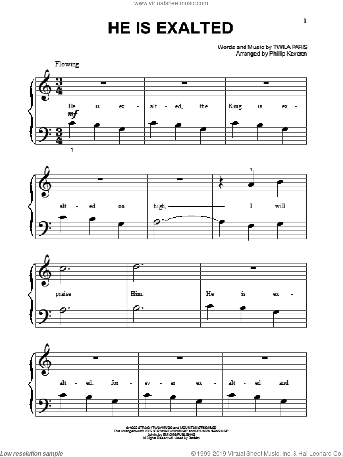 He Is Exalted (arr. Phillip Keveren) sheet music for piano solo (big note book) by Twila Paris and Phillip Keveren, easy piano (big note book)