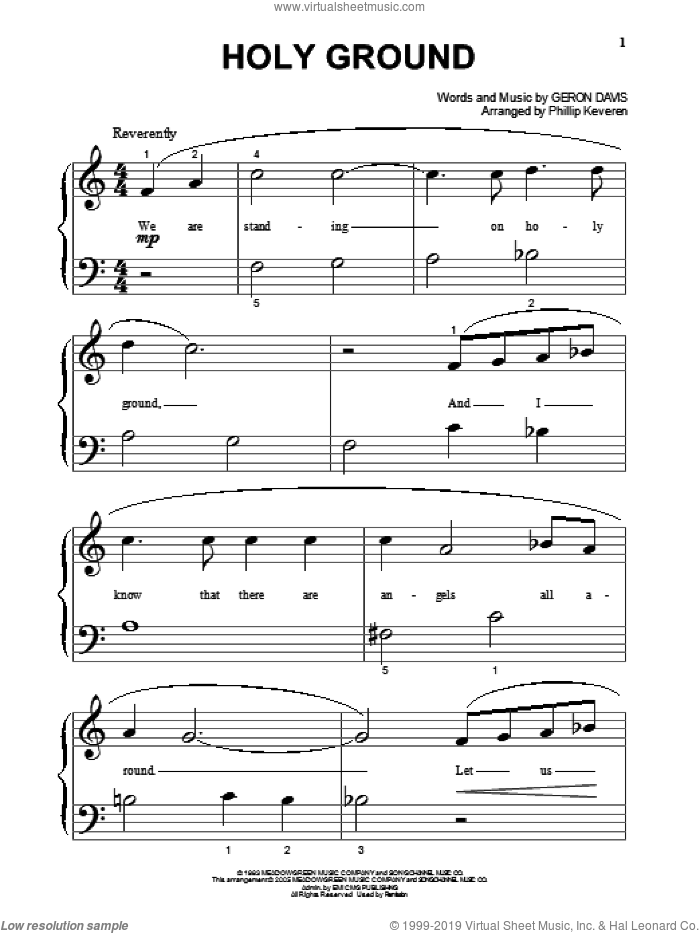 Holy Ground (arr. Phillip Keveren) sheet music for piano solo (big note book) by Geron Davis and Phillip Keveren, wedding score, easy piano (big note book)