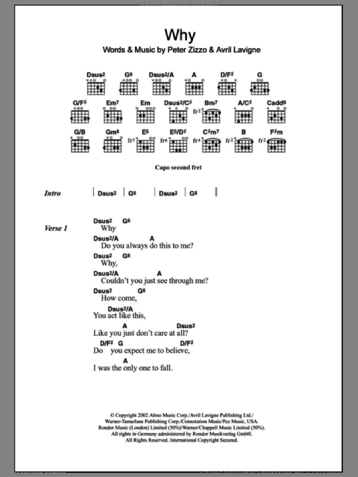Why sheet music for guitar (chords) by Avril Lavigne, intermediate skill level