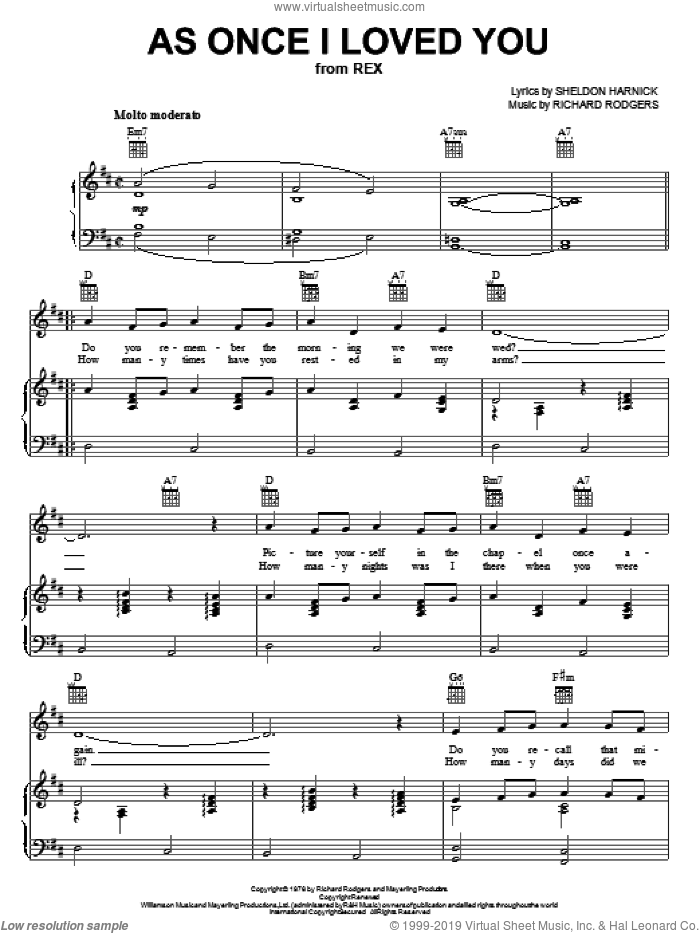 As Once I Loved You sheet music for voice, piano or guitar by Richard Rodgers, Rex (Musical) and Sheldon Harnick, intermediate skill level