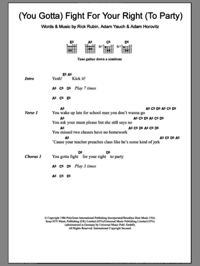 Fight For Your Right (To Party) sheet music for guitar (chords) by Beastie Boys, Adam Horovitz, Adam Yauch and Rick Rubin, intermediate skill level