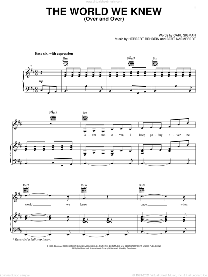 World We Knew (Over And Over) sheet music for voice, piano or guitar by Frank Sinatra, Berthold Kaempfert, Carl Sigman and Herbert Rehbein, intermediate skill level