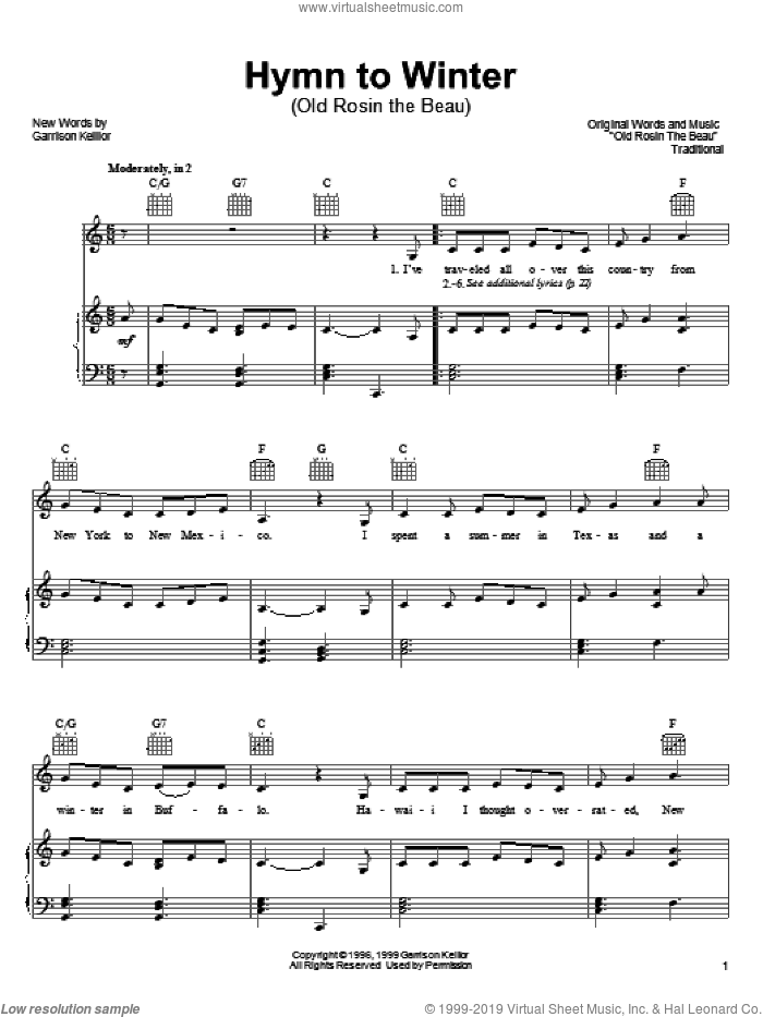 Hymn To Winter sheet music for voice, piano or guitar by Garrison Keillor and Miscellaneous, intermediate skill level