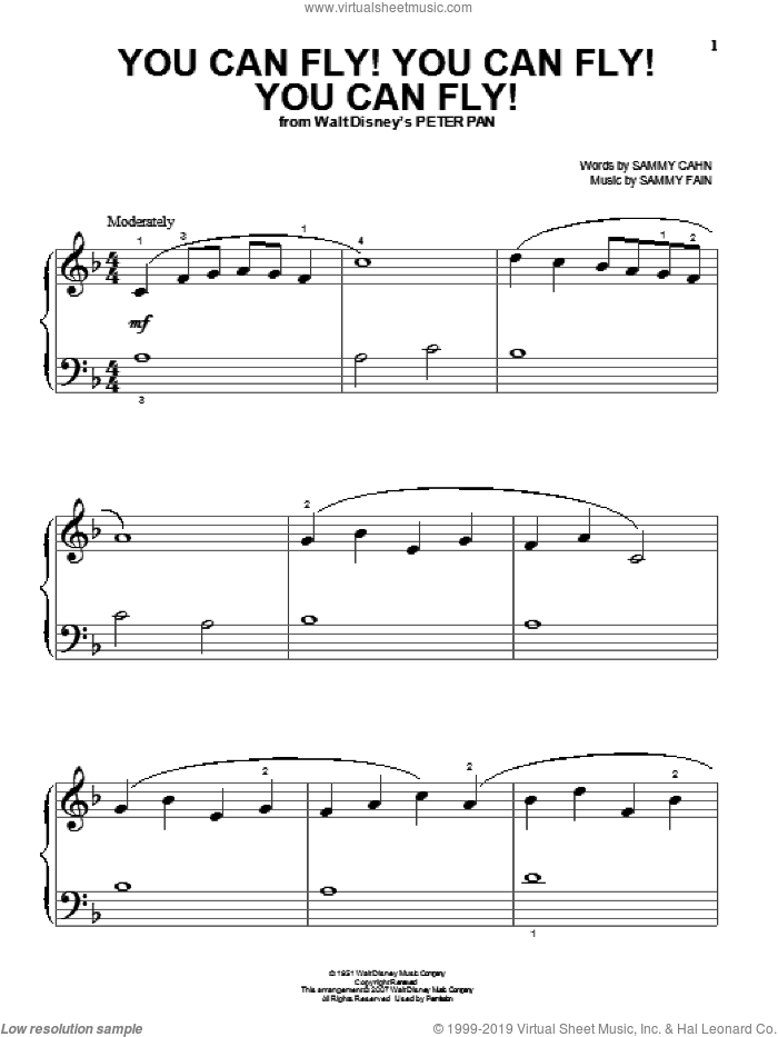 You Can Fly! You Can Fly! You Can Fly! sheet music for piano solo (big note book) by Sammy Cahn and Sammy Fain, easy piano (big note book)