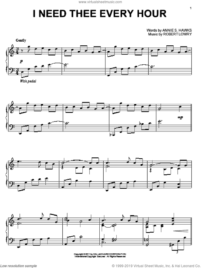I Need Thee Every Hour sheet music for piano solo by Annie S. Hawks and Robert Lowry, intermediate skill level