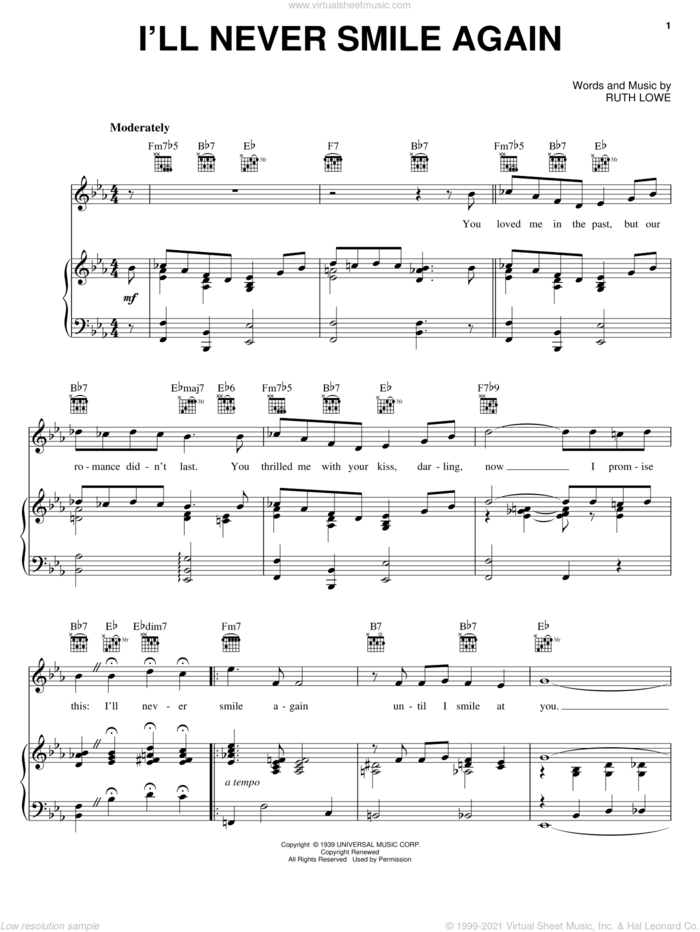 I'll Never Smile Again sheet music for voice, piano or guitar by Frank Sinatra, Dave Brubeck, The Ink Spots, Tommy Dorsey and Ruth Lowe, intermediate skill level