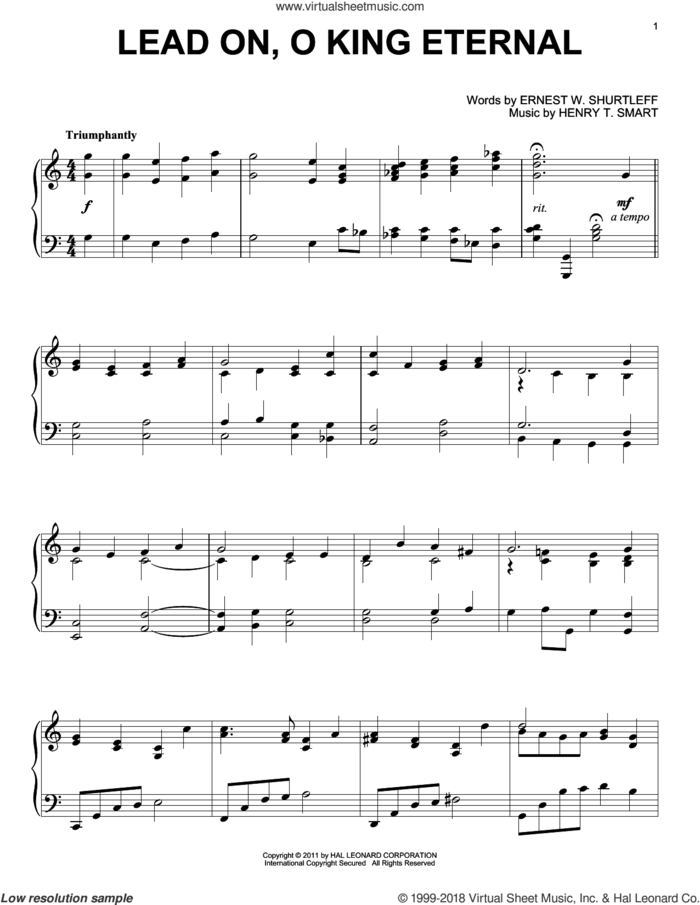 Lead On, O King Eternal sheet music for piano solo by Ernest W. Shurtleff and Henry T. Smart, intermediate skill level