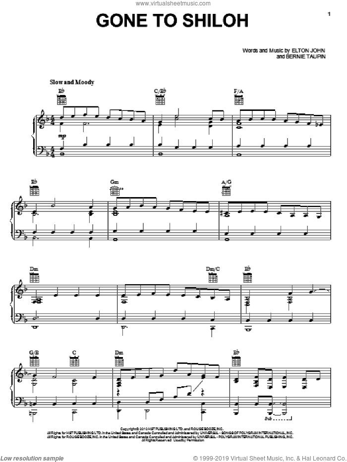 Gone To Shiloh sheet music for voice, piano or guitar by Elton John, Leon Russell and Bernie Taupin, intermediate skill level