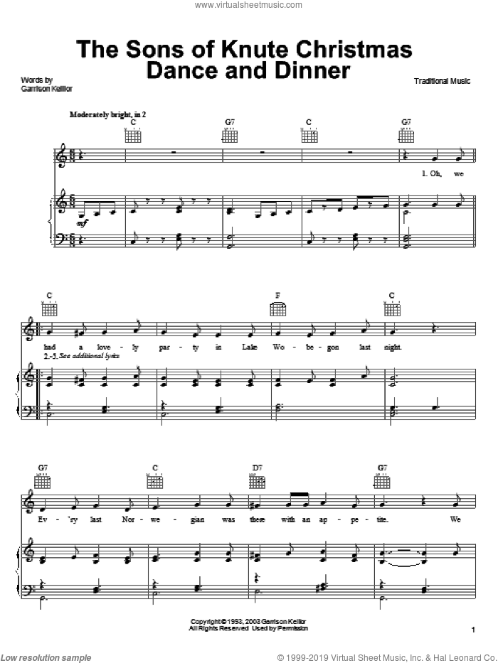 The Sons Of Knute Christmas Dance And Dinner sheet music for voice, piano or guitar by Garrison Keillor and Miscellaneous, intermediate skill level