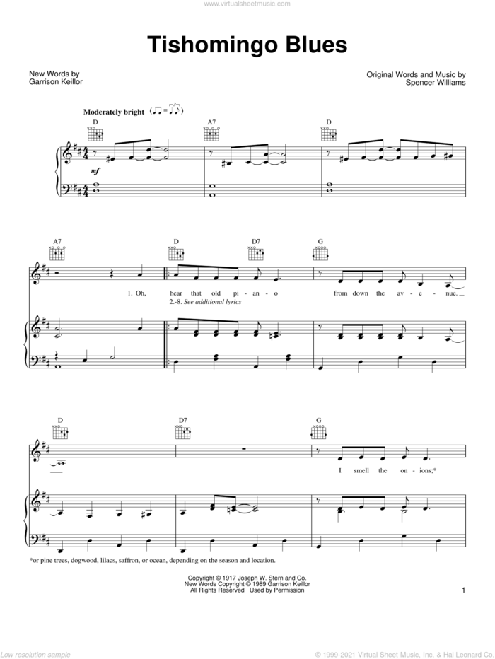 Tishomingo Blues sheet music for voice, piano or guitar by Garrison Keillor and Spencer Williams, intermediate skill level