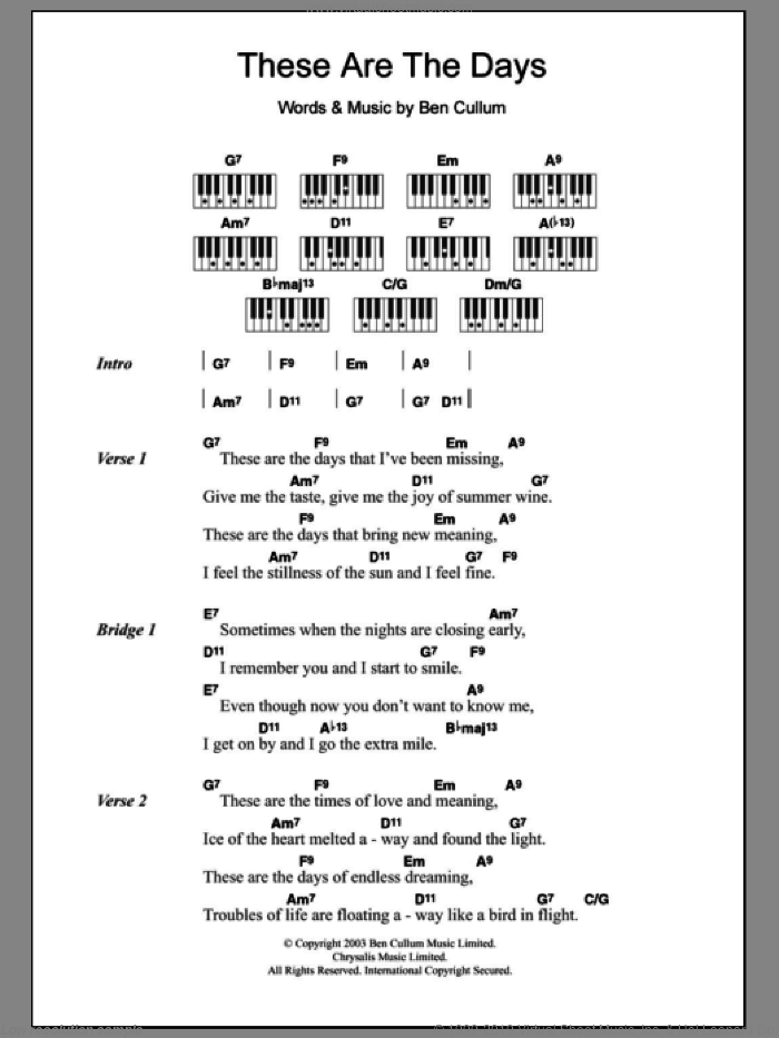 These Are The Days sheet music for piano solo (chords, lyrics, melody) by Jamie Cullum and Ben Cullum, intermediate piano (chords, lyrics, melody)