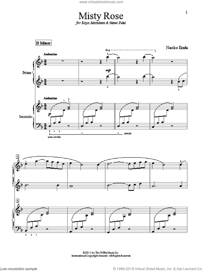 Misty Rose sheet music for piano four hands by Naoko Ikeda, intermediate skill level