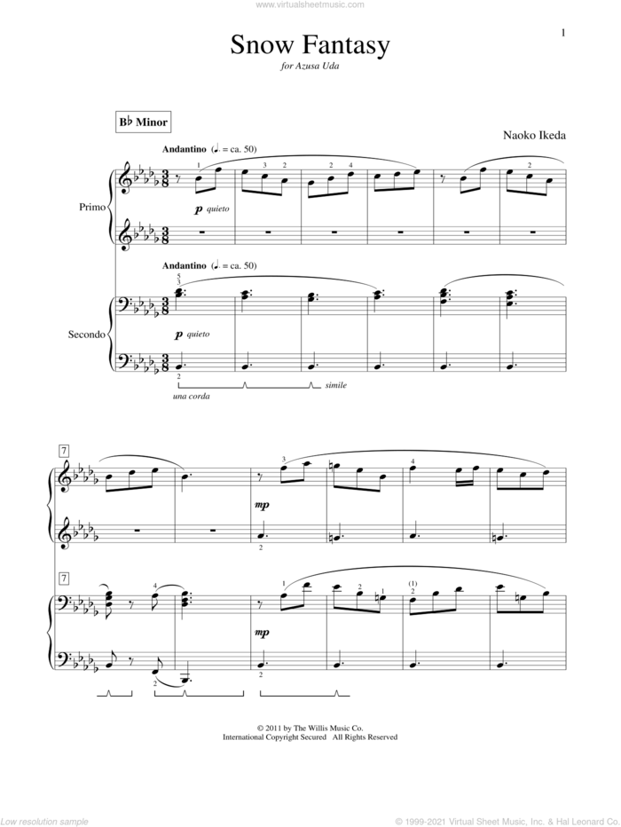 Snow Fantasy sheet music for piano four hands by Naoko Ikeda, intermediate skill level
