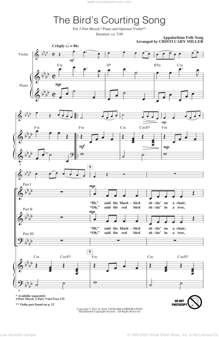The Bird's Courting Song sheet music for choir (3-Part Mixed) by Cristi Cary Miller and Appalachian Folk Song, intermediate skill level