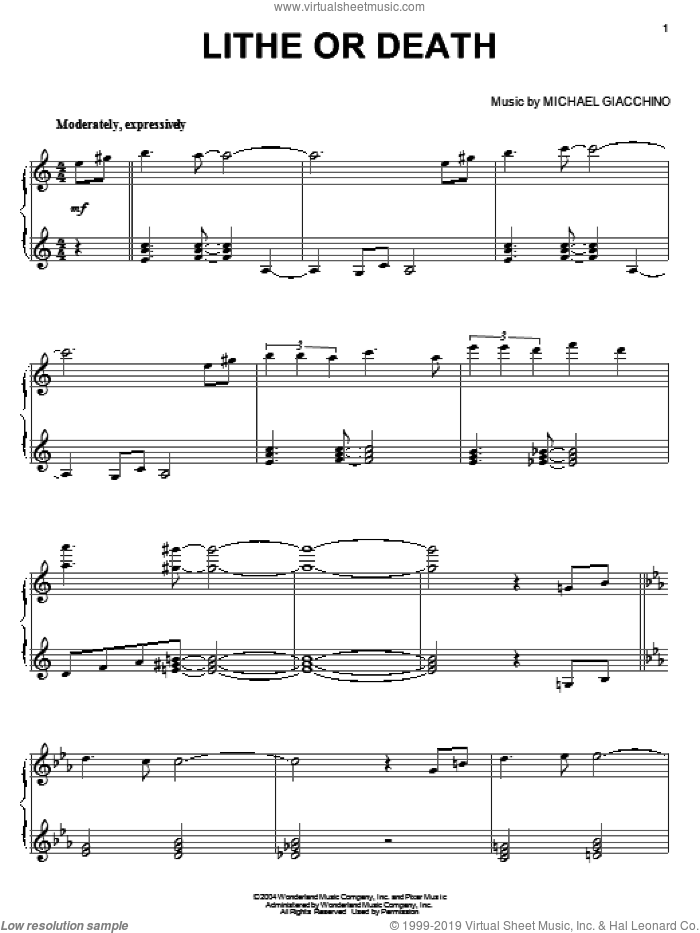 Lithe Or Death sheet music for piano solo by Michael Giacchino and The Incredibles (Movie), intermediate skill level