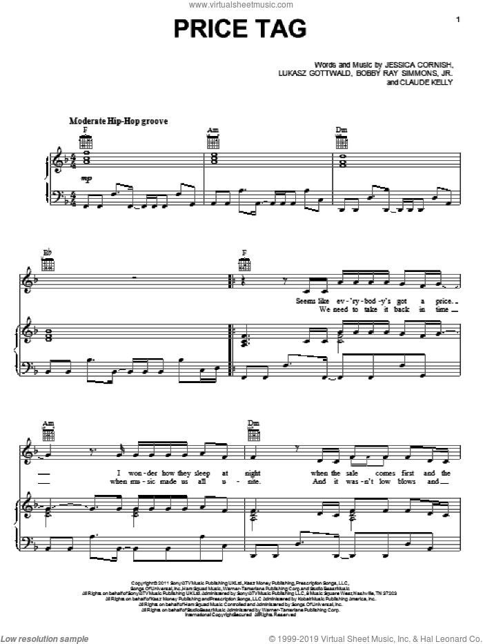 Price Tag sheet music for voice, piano or guitar by Claude Kelly, B.o.B., Jesse J, Bobby Ray Simmons, Jr., Jessica Cornish and Lukasz Gottwald, intermediate skill level