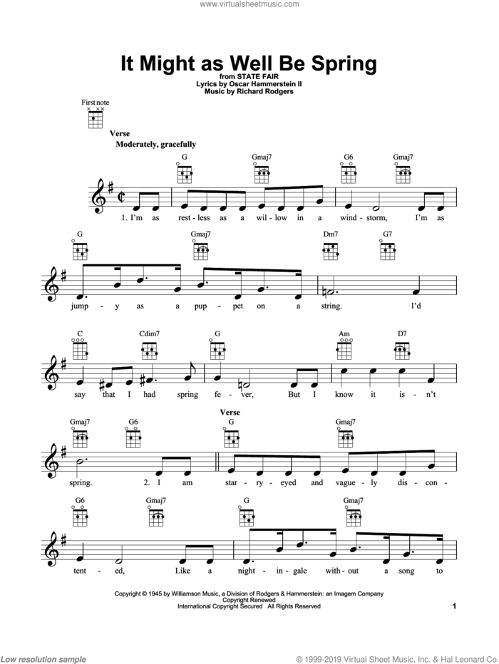 It Might As Well Be Spring sheet music for ukulele by Rodgers & Hammerstein, State Fair (Musical), Oscar II Hammerstein and Richard Rodgers, intermediate skill level