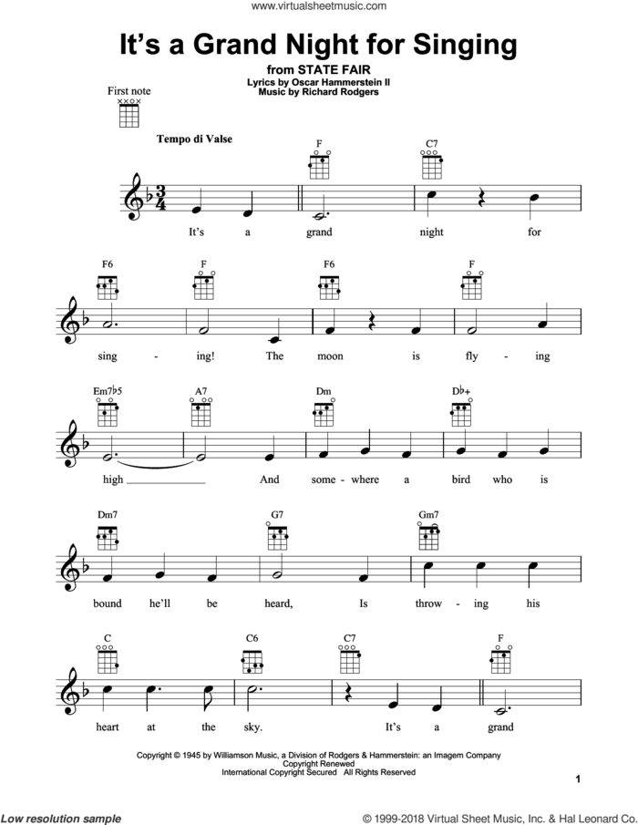 It's A Grand Night For Singing sheet music for ukulele by Rodgers & Hammerstein, State Fair (Musical), Oscar II Hammerstein and Richard Rodgers, intermediate skill level