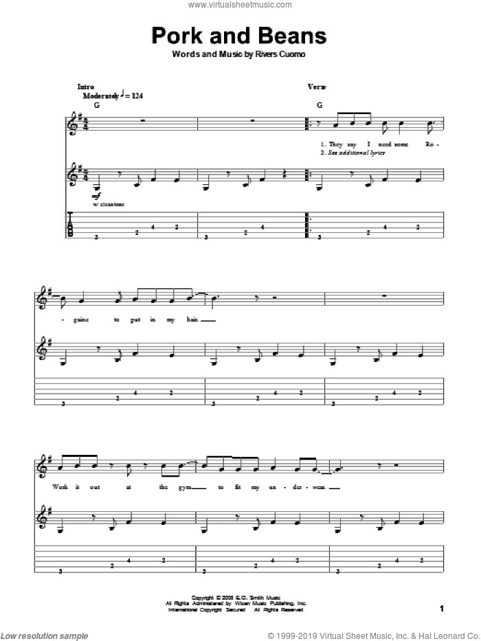 Pork And Beans sheet music for guitar (tablature, play-along) by Weezer and Rivers Cuomo, intermediate skill level