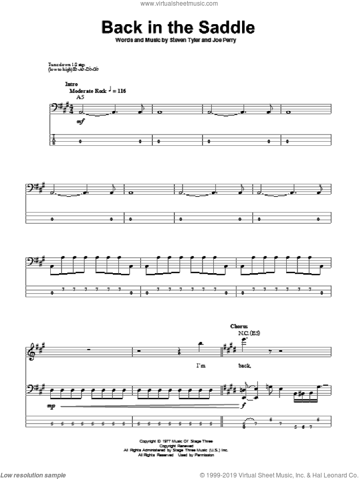 Back In The Saddle sheet music for bass (tablature) (bass guitar) by Aerosmith, Joe Perry and Steven Tyler, intermediate skill level