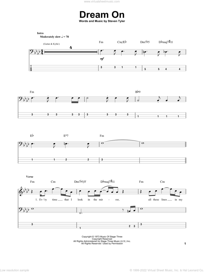 Dream On sheet music for bass (tablature) (bass guitar) by Aerosmith and Steven Tyler, intermediate skill level