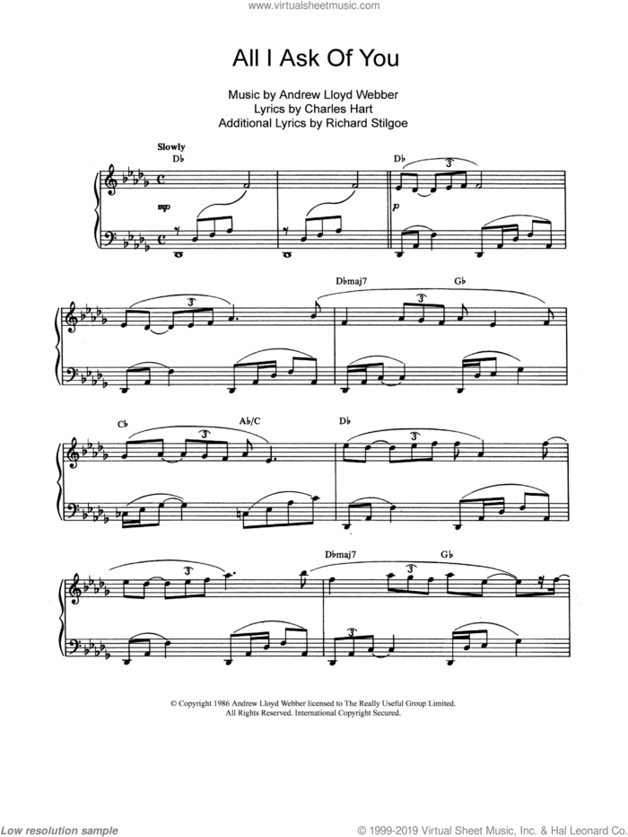 All I Ask Of You (from The Phantom Of The Opera), (intermediate) (from The Phantom Of The Opera) sheet music for piano solo by Andrew Lloyd Webber, Charles Hart and Richard Stilgoe, wedding score, intermediate skill level
