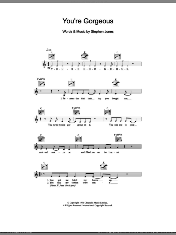 You're Gorgeous sheet music for voice and other instruments (fake book) by Babybird, Baby Bird and Steve Jones, intermediate skill level