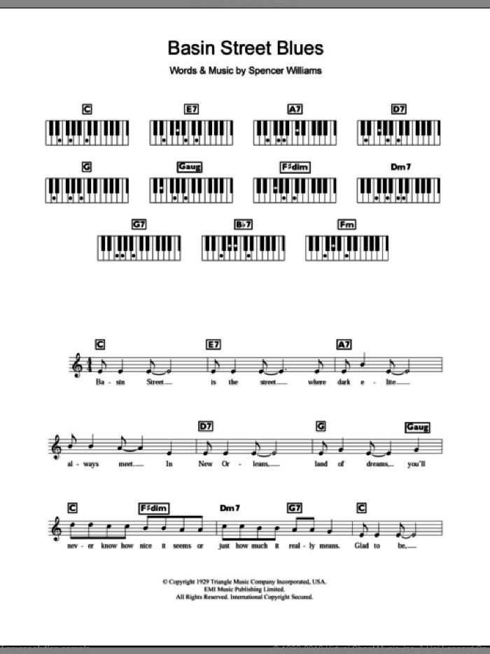 Basin Street Blues sheet music for piano solo (chords, lyrics, melody) by Louis Armstrong and Spencer Williams, intermediate piano (chords, lyrics, melody)