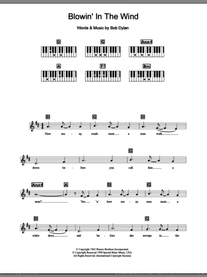 Blowin' In The Wind sheet music for piano solo (chords, lyrics, melody) by Bob Dylan, intermediate piano (chords, lyrics, melody)