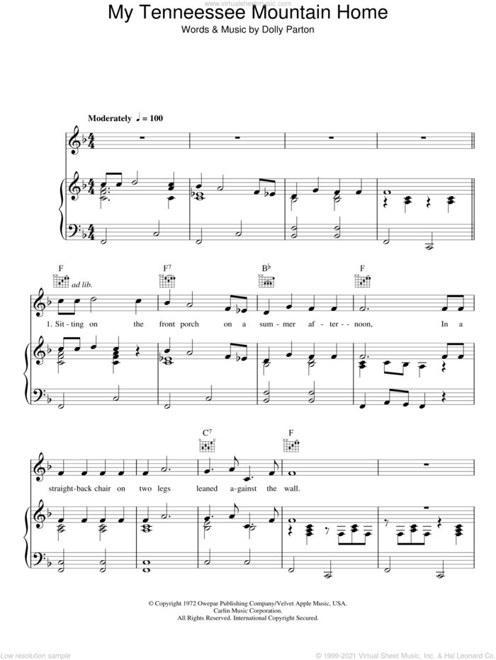 My Tennessee Mountain Home sheet music for voice, piano or guitar by Dolly Parton, intermediate skill level