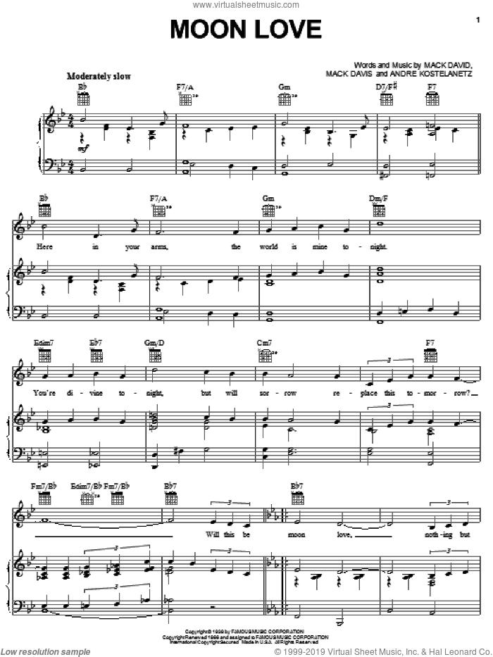 Moon Love sheet music for voice, piano or guitar by Glenn Miller, Andre Kostelanetz, Mac David and Mac Davis, intermediate skill level