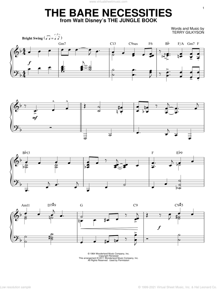 The Bare Necessities [Jazz version] (from The Jungle Book) (arr. Brent Edstrom) sheet music for piano solo by Terry Gilkyson, intermediate skill level
