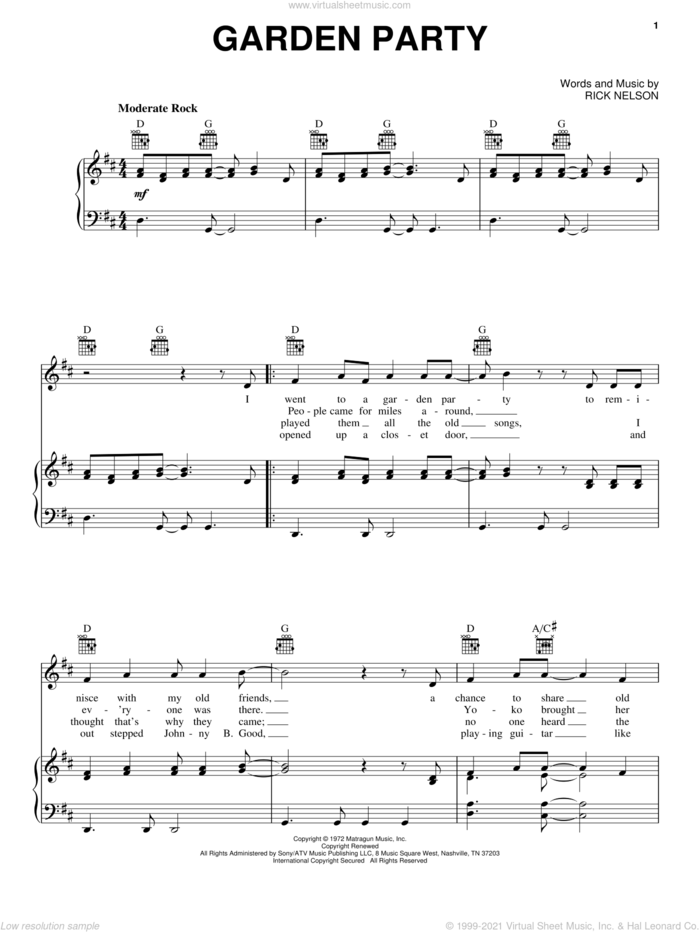 Garden Party sheet music for voice, piano or guitar by Ricky Nelson, intermediate skill level